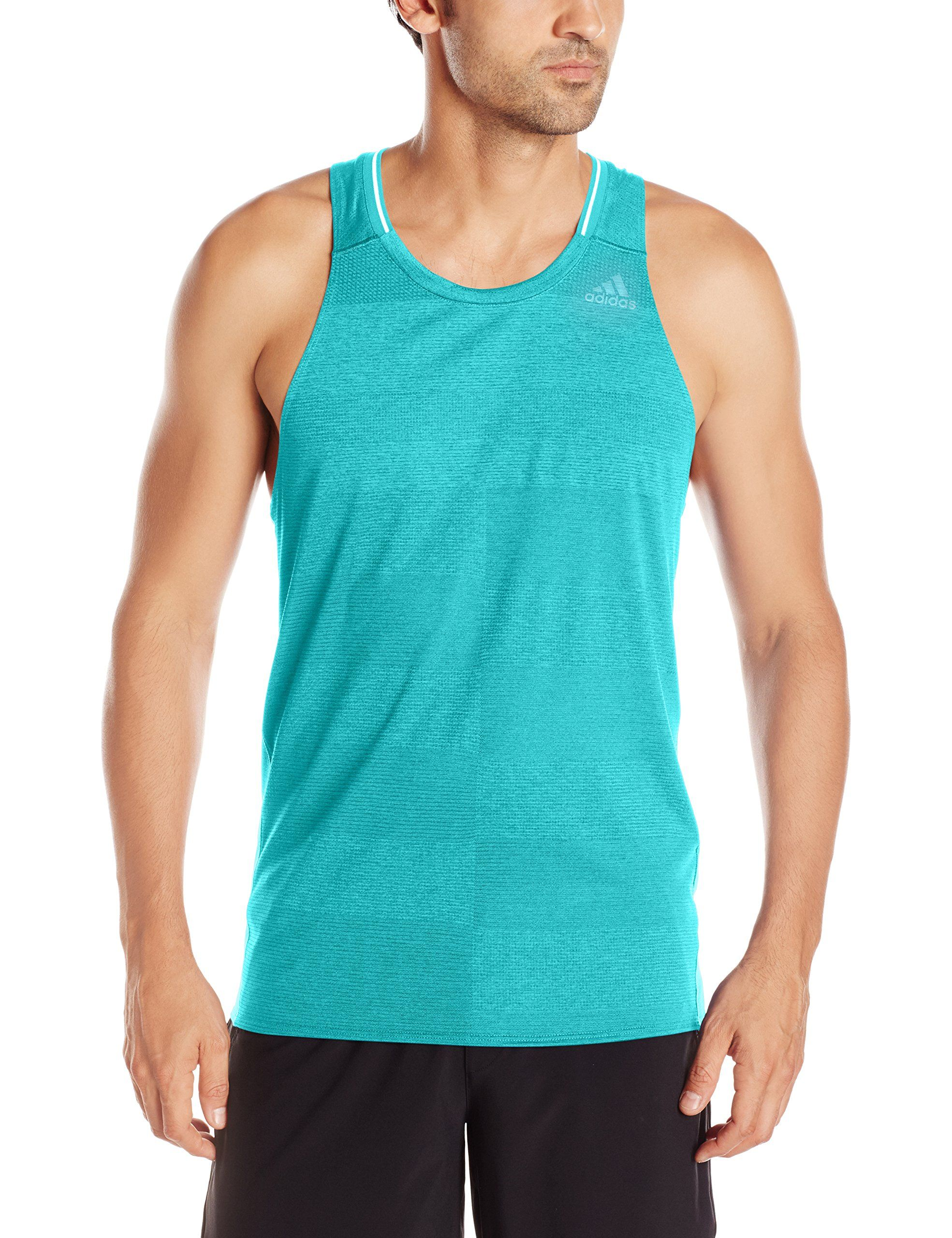 check out 7cb52 b6982 adidas Men s Running Supernova A Singlet Tank Top, Energy Blue, Large.  climalite fabric