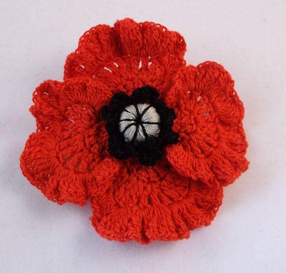 Beautiful Remembrance Day Poppy Brooch poppy brooch crochet ...