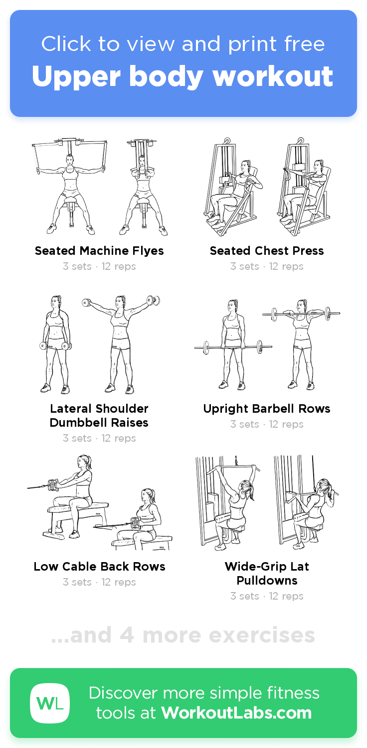 Upper Body Workout Click To View And Print This Illustrated Exercise Plan Created With Lower Body Workout Gym Beginner Upper Body Workout Lower Body Workout