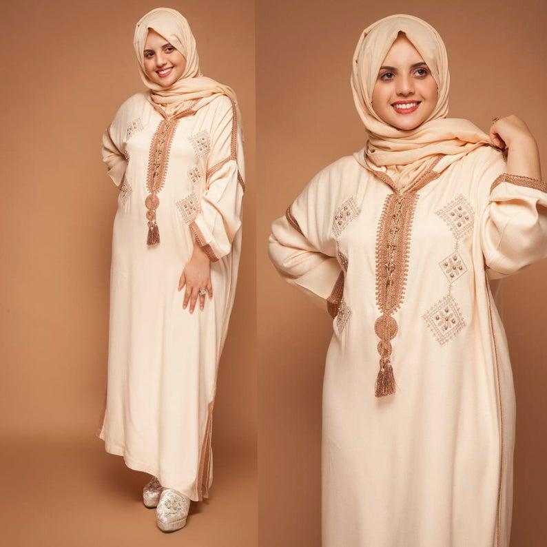 Moroccan Djellaba Long Dress For Women Moroccan Caftan Dress   Etsy   Arab women's dress, Womens dresses, Caftan dress