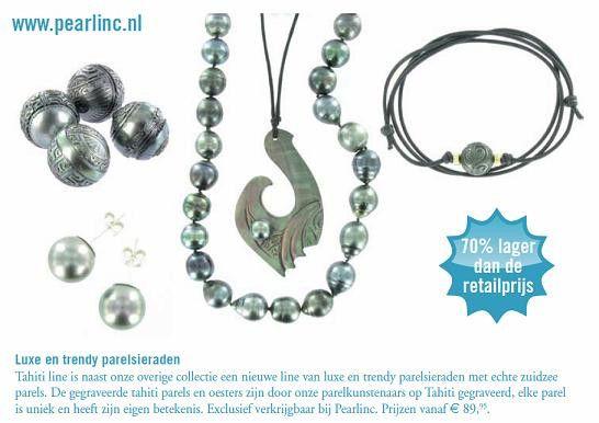 www.pearlinc.nl Luxe gegraveerde Tahiti parels parel armbanden Tahiti pareloorbellen    Tahiti parelhangers