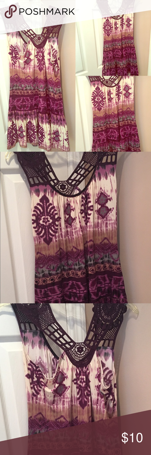 Lace dress purple  Venus Purple Crochet Lace Dress Size S   Crochet lace dress