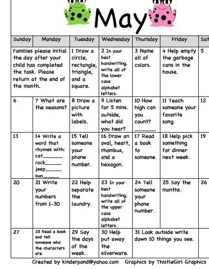 Homework Calendar- May   pre k home work   Kindergarten ...