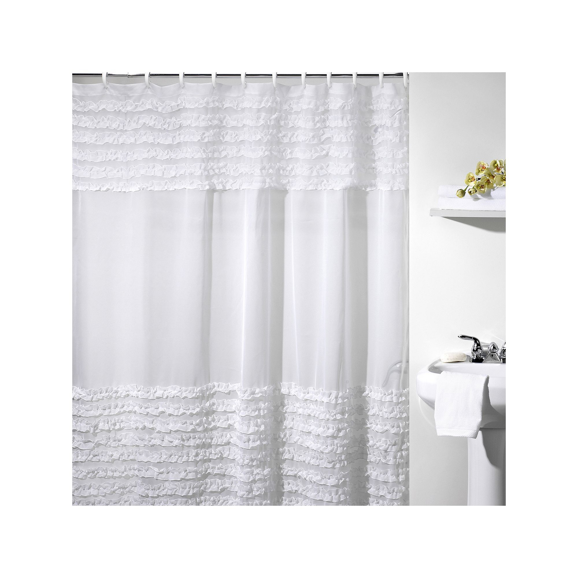 Creative Bath Ruffles Fabric Shower Curtain White