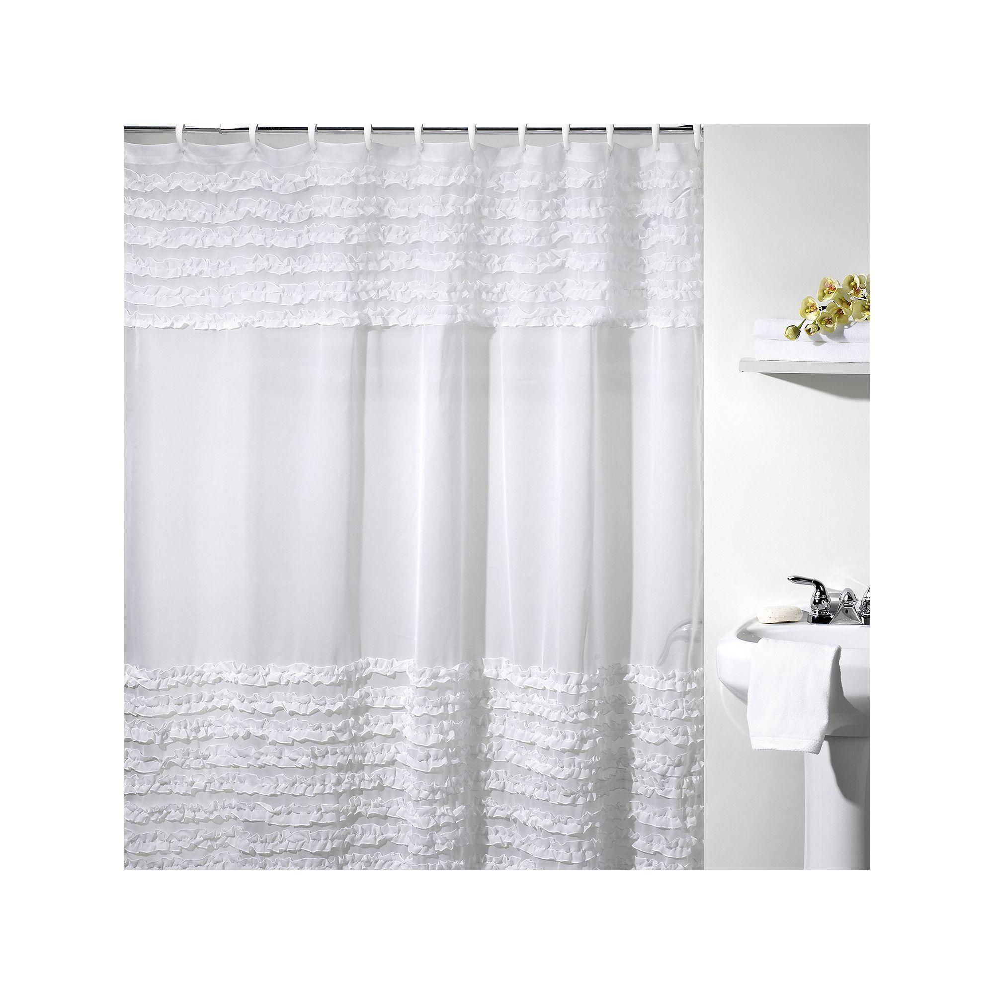 Creative Bath Shower Curtain creative bath ruffles fabric shower curtain, white | ruffles