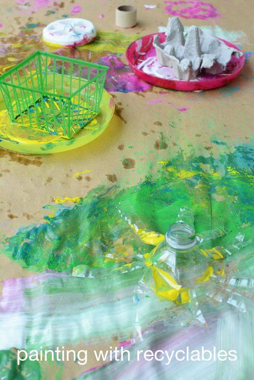 Painting with Recyclables Easy Art Activity for Kids | MeriCherry