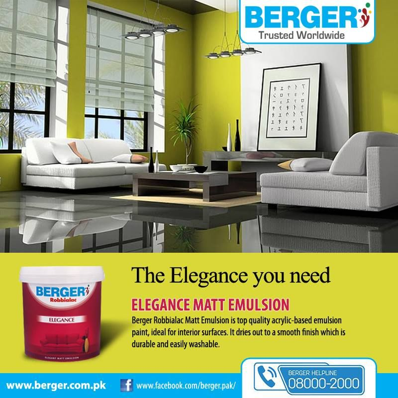 Berger Paints Interior: #EleganceMattEmulsion #berger #bergerpaintpakistan