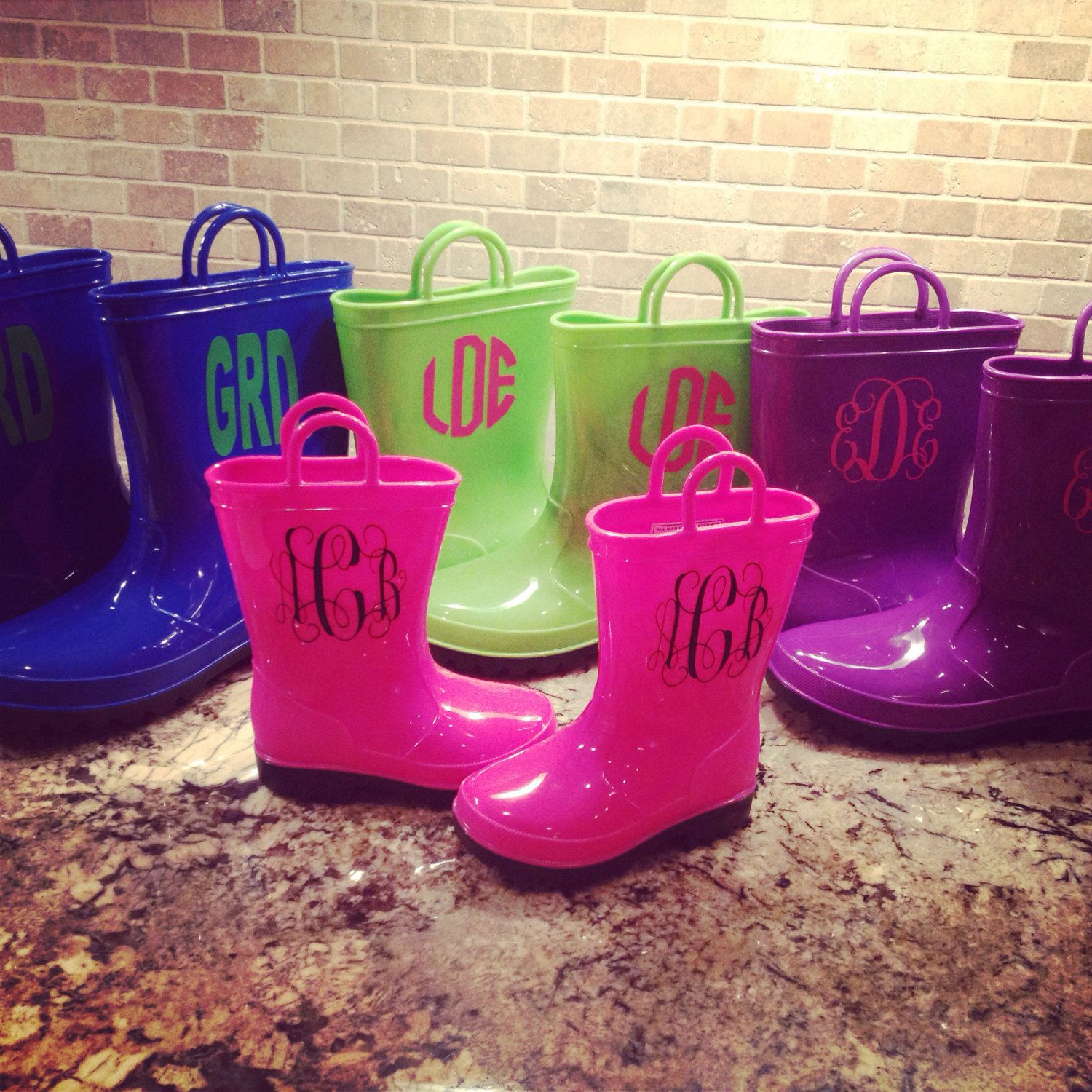 Monogrammed Rain Boots Youth Toddler Rain Boots by HappyHourMarket