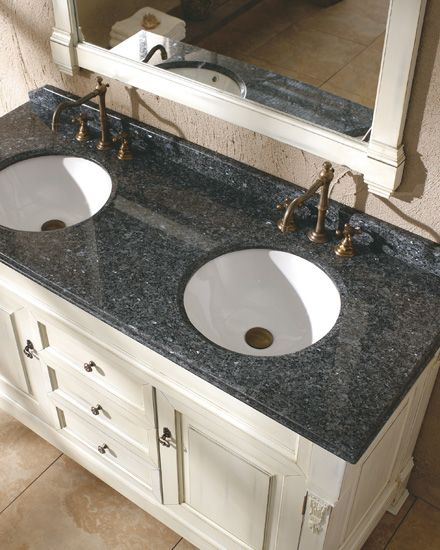 Double Bathroom Vanities Granite Tops black pearl granite with white cabinets | more photos in flash