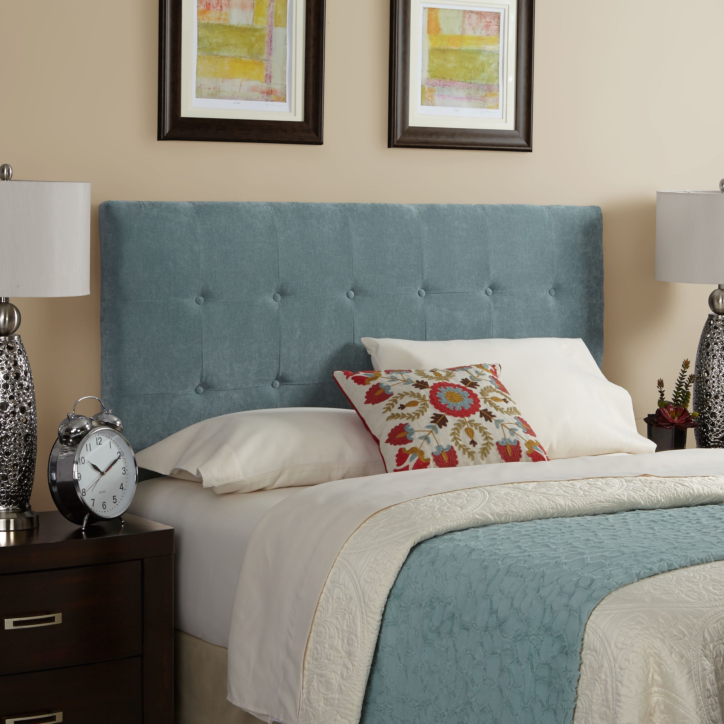 headboard bei tufted grey theodore mod pin upholstered modway products