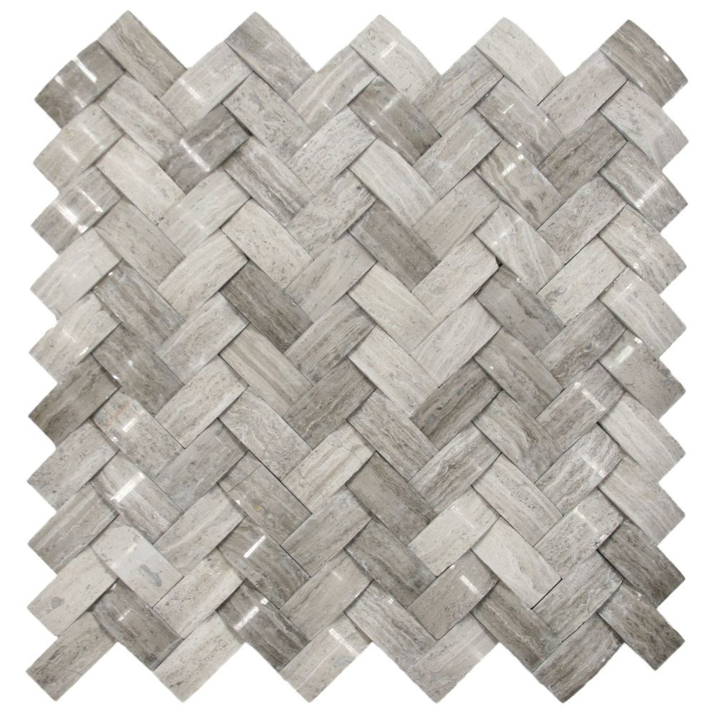Show 3d polished grey basket weave stone tile from tile outlet for around a fireplace maybe
