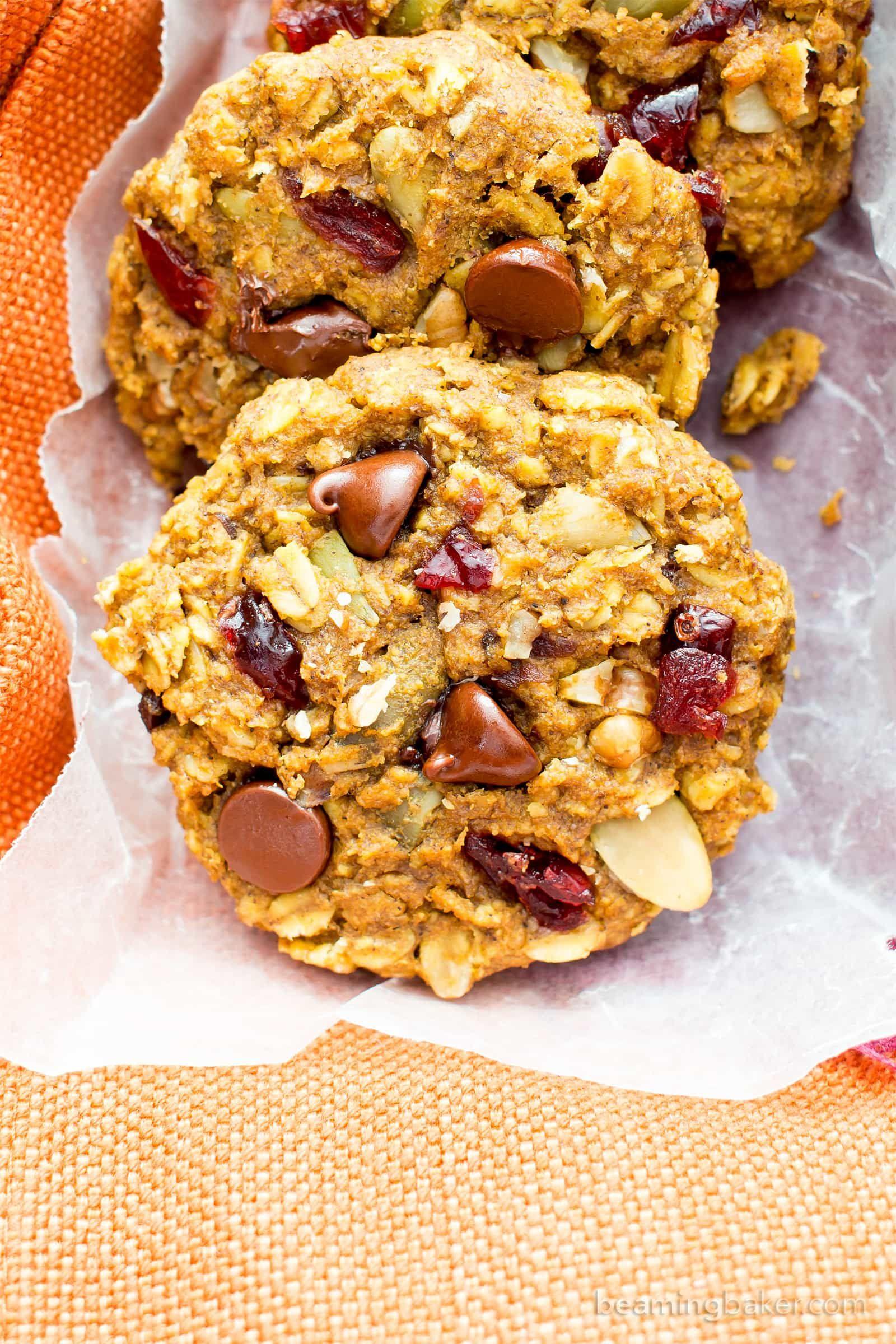 Pumpkin Chocolate Chip Oatmeal Breakfast Cookies V Gf Soft Chewy Pumpkin Oatmeal Cookies Breakfast Cookies Oatmeal Breakfast Cookies Pumpkin Spice Recipe
