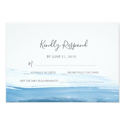 Elegant Blue Watercolor RSVP cards