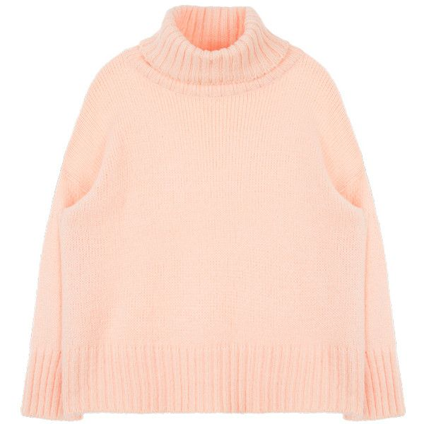 Boxy Turtleneck Knit Sweater (£21) ❤ liked on Polyvore featuring tops, sweaters, pink knit sweater, long sleeve knit sweater, pink turtleneck sweater, long sleeve sweater and turtle neck sweater