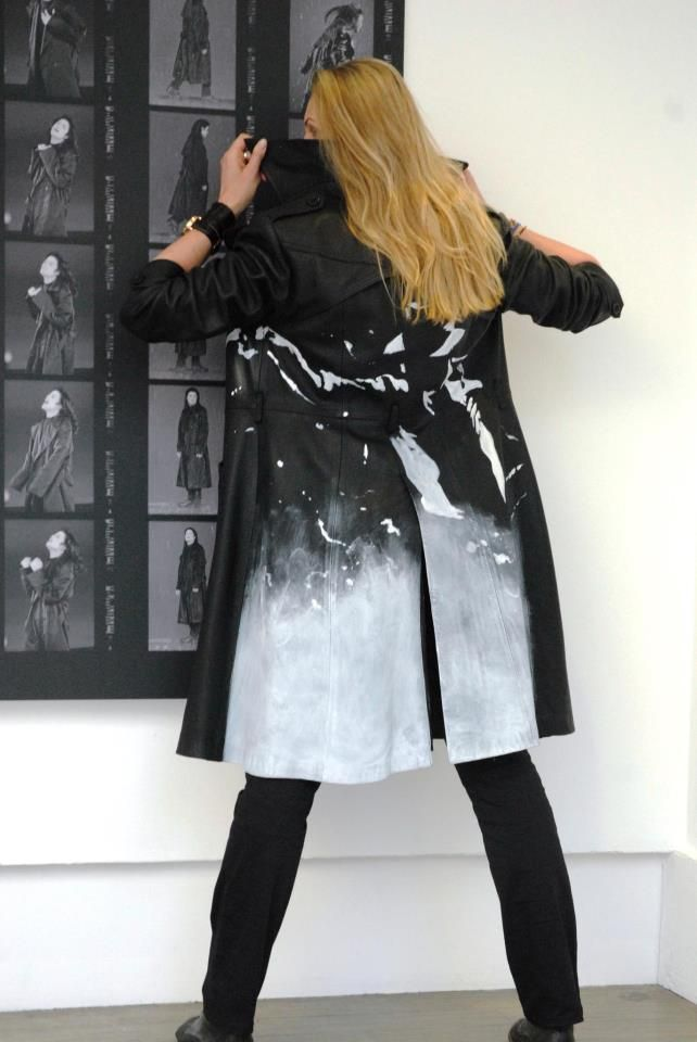 Bad ass Black or White leather trench coat featuring proofs of Michael Jackson performing Stranger in Moscow.