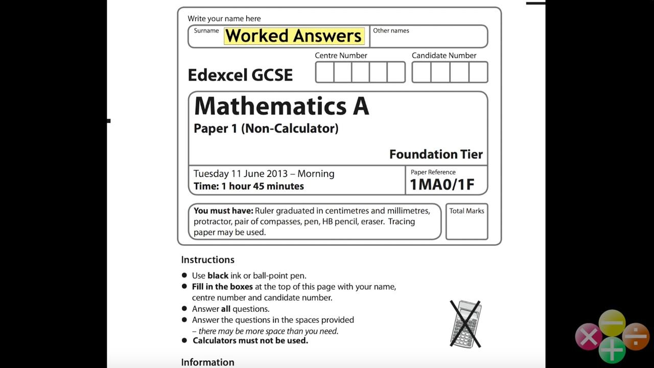 Gcse Maths Edexcel Foundation Non Calculator June 2013 Worked Answers Gcse Math Math Worksheets Gcse Maths Past Papers