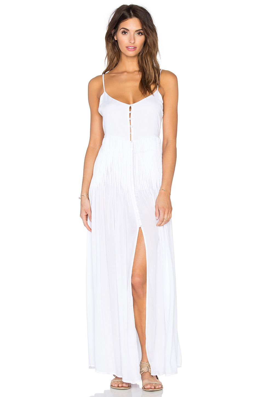 bbe0cc664e Indah Uma Pleat   Button Maxi Dress in White