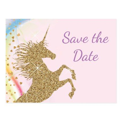unicorn birthday party save the date postcards save the date