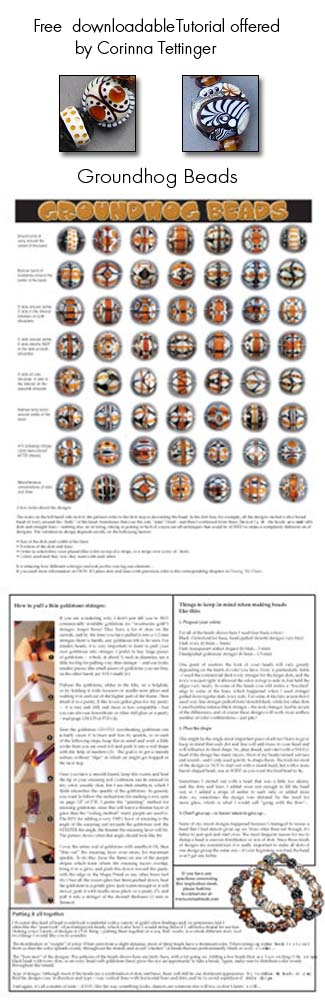 - K -  This is a wonderful tutorial from bead artist Corinna Tettinger that you can download free from her site. She is a gifted teacher and often shares her tips and techniques on her site and in her newsletter. enjoy, k http://www.corinabeads.com/