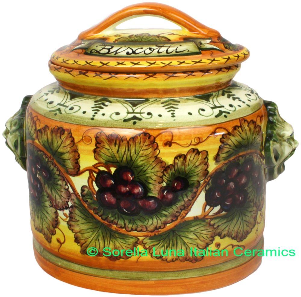 Hand Painted Ceramic Majolica Cookie Jar