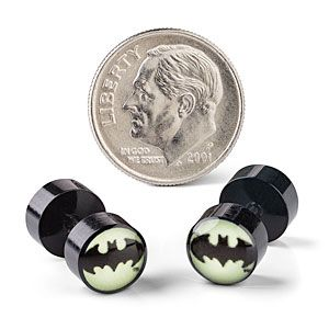 ThinkGeek :: Batman Glow in the Dark Faux Plugs  I love faux plugs. Get the look not the terrible stretched ear hole. *makes better life choices*