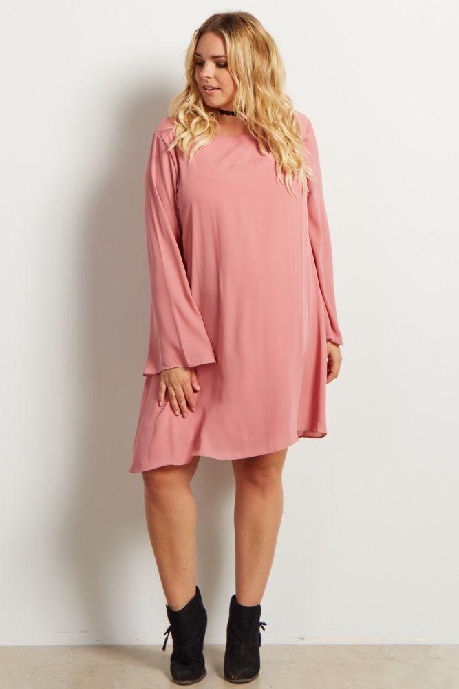 Mauve Chiffon Bell Sleeve Plus Size Maternity Dress