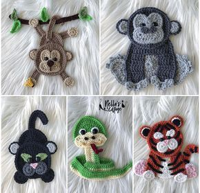 Crochet Pattern - INSTANT PDF DOWNLOAD - Jungle Animals - Crochet Animals - Crochet Jungle Animals - Appliqués - Patterns - Pattern #crochetanimals