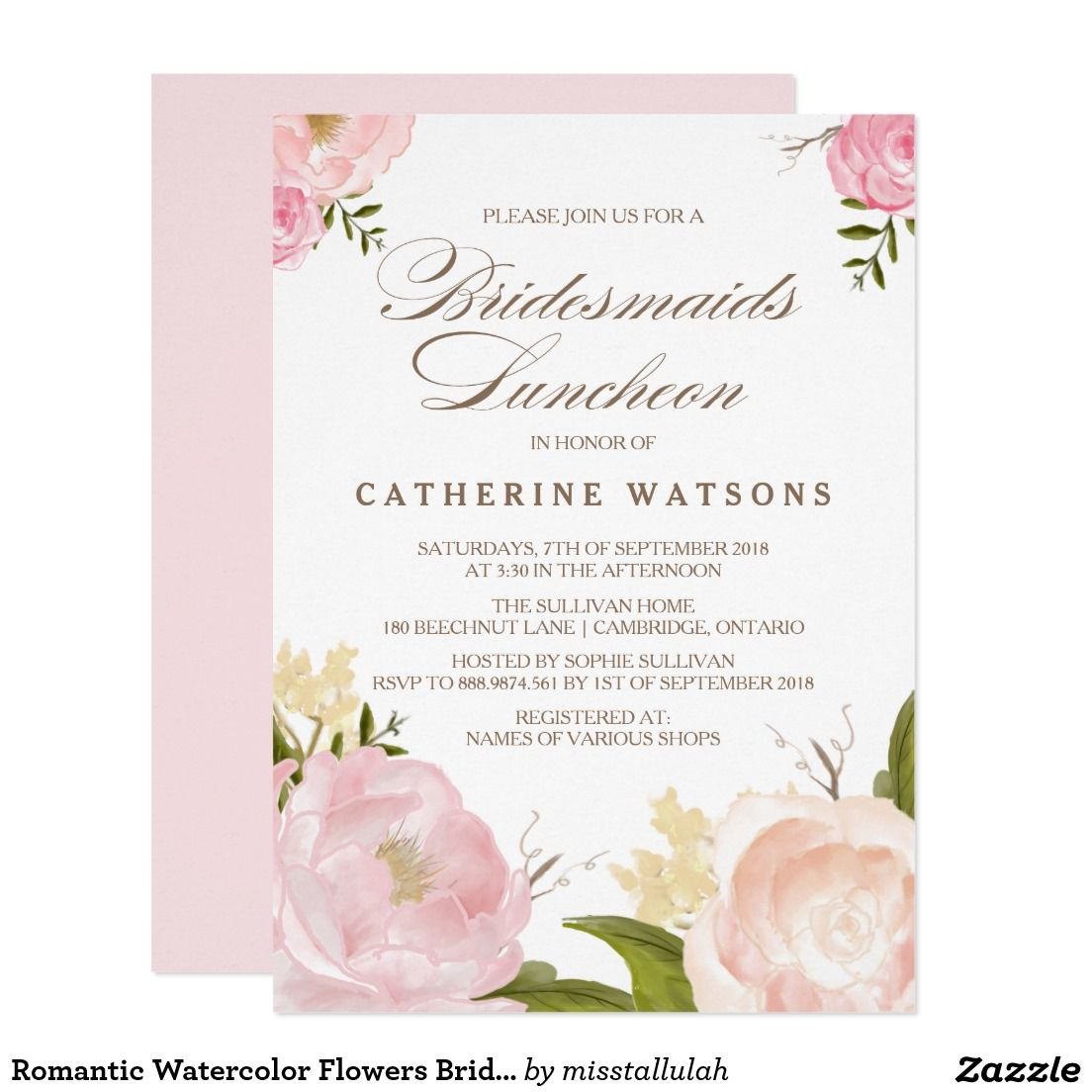 Romantic Watercolor Flowers Bridesmaids Luncheon Wedding Bridal