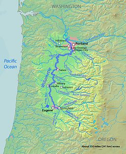 A Map Of The Willamette River Its Drainage Basin Major Tributaries And Major Cities