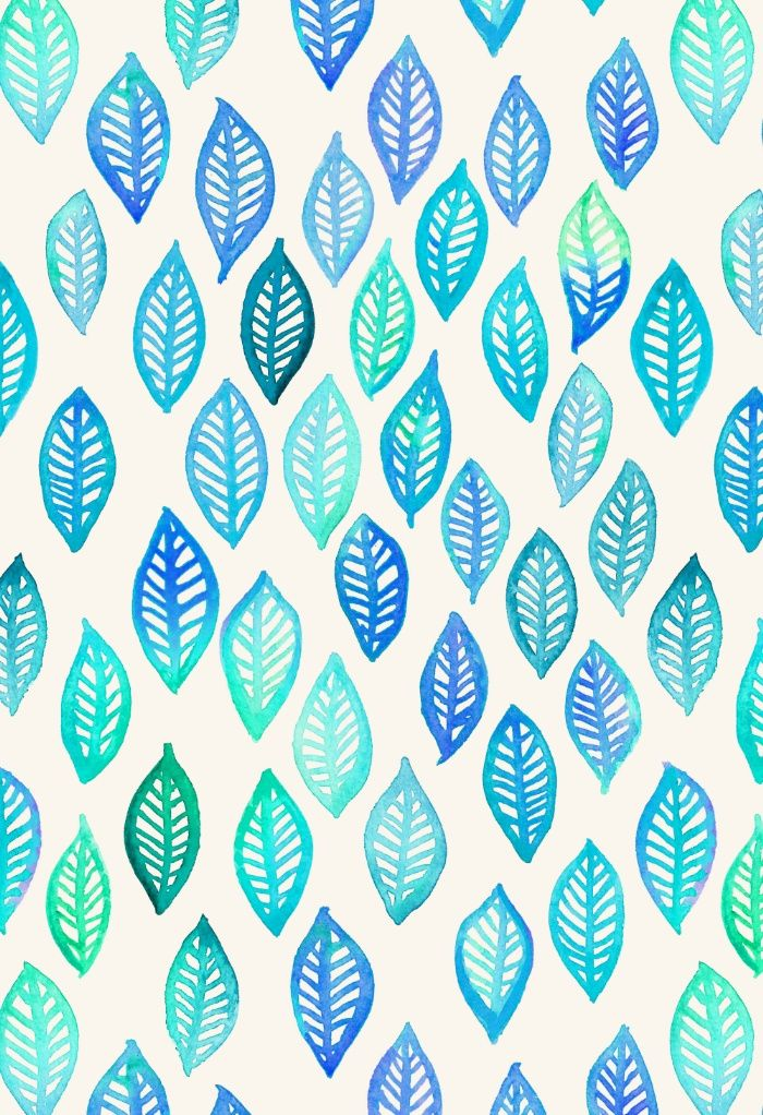 Watercolor Leaf Pattern In Blue Turquoise Art Print By Micklyn