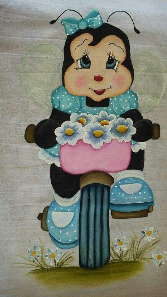 Joaninha Na Bicicleta Pinturas Em Tecido Fraldas Pintura De