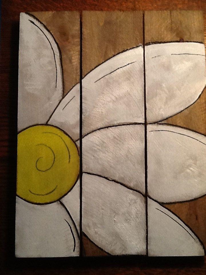 Daisy Pallet Art 10X 13. $35.00, via Etsy.