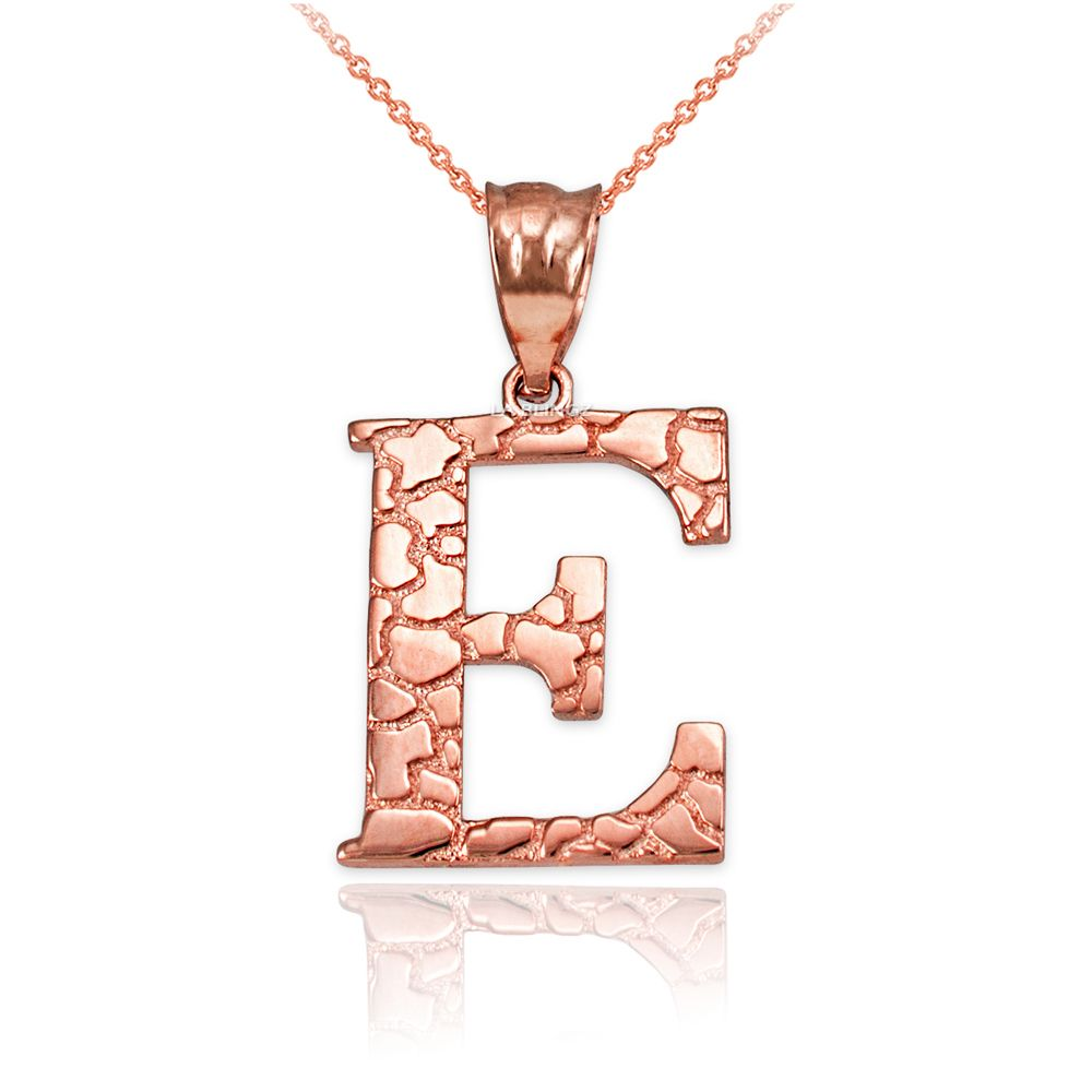 LA BLINGZ 10K Yellow Gold Nugget Initial Letter P Necklace