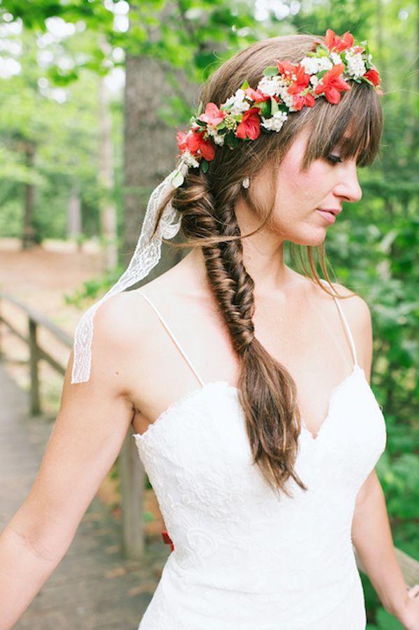 Floral Crown And Fishtail Braid Wedding Weddinghair Hairstyle