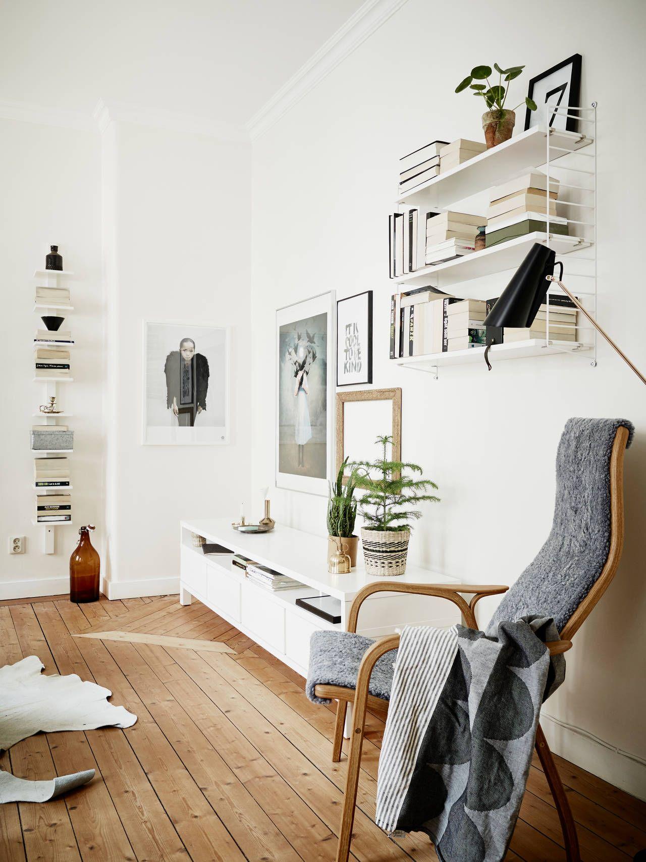Vibrant white home with old hardwood floors | Shelving ideas ...