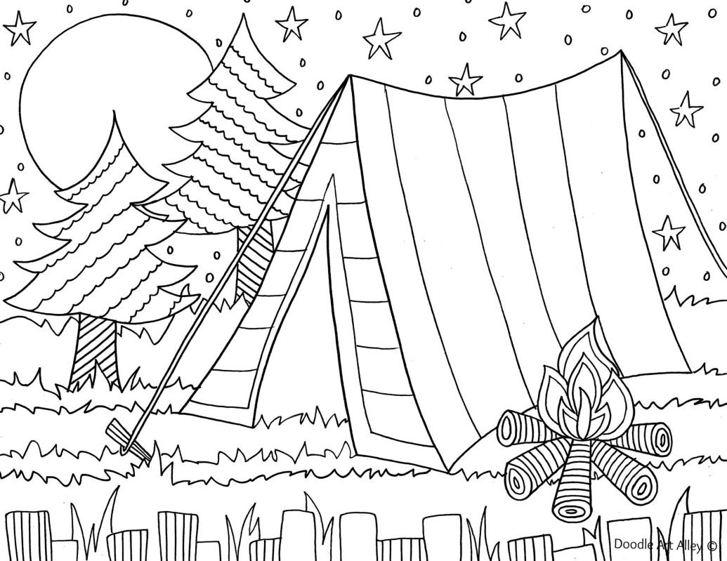 camping coloring page for the kids camp is coming pinterest