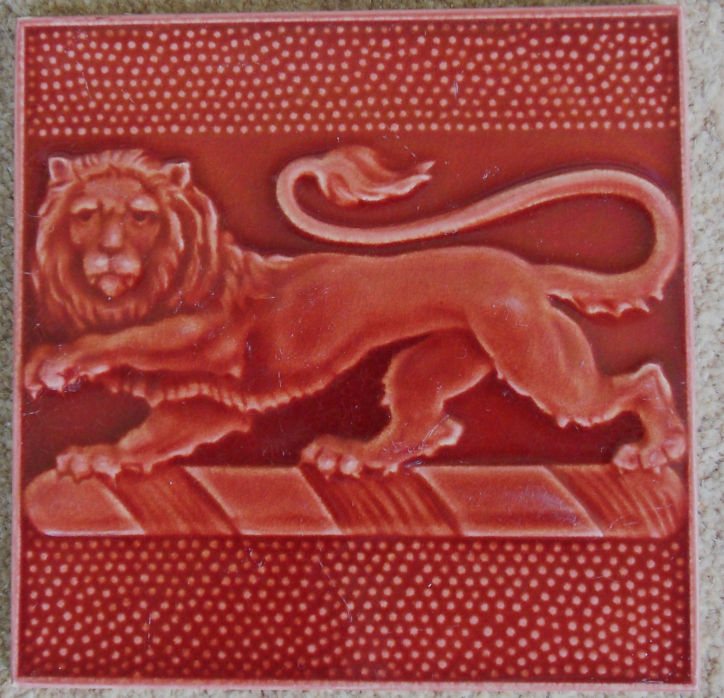 Super Pilkington S Red Lion Tile C1907 Red Tiles Art Nouveau Tiles Antique Tiles