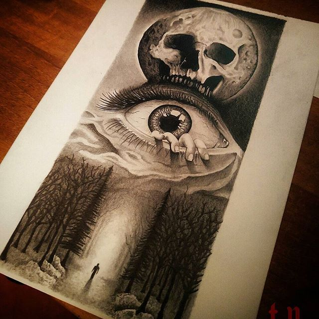 Creepy Forest Tattoo Idea Man In The Forest With Creepy Eye And