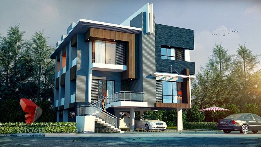 3d contemporary small bungalow long ago pinterest for 3d elevation of bungalow