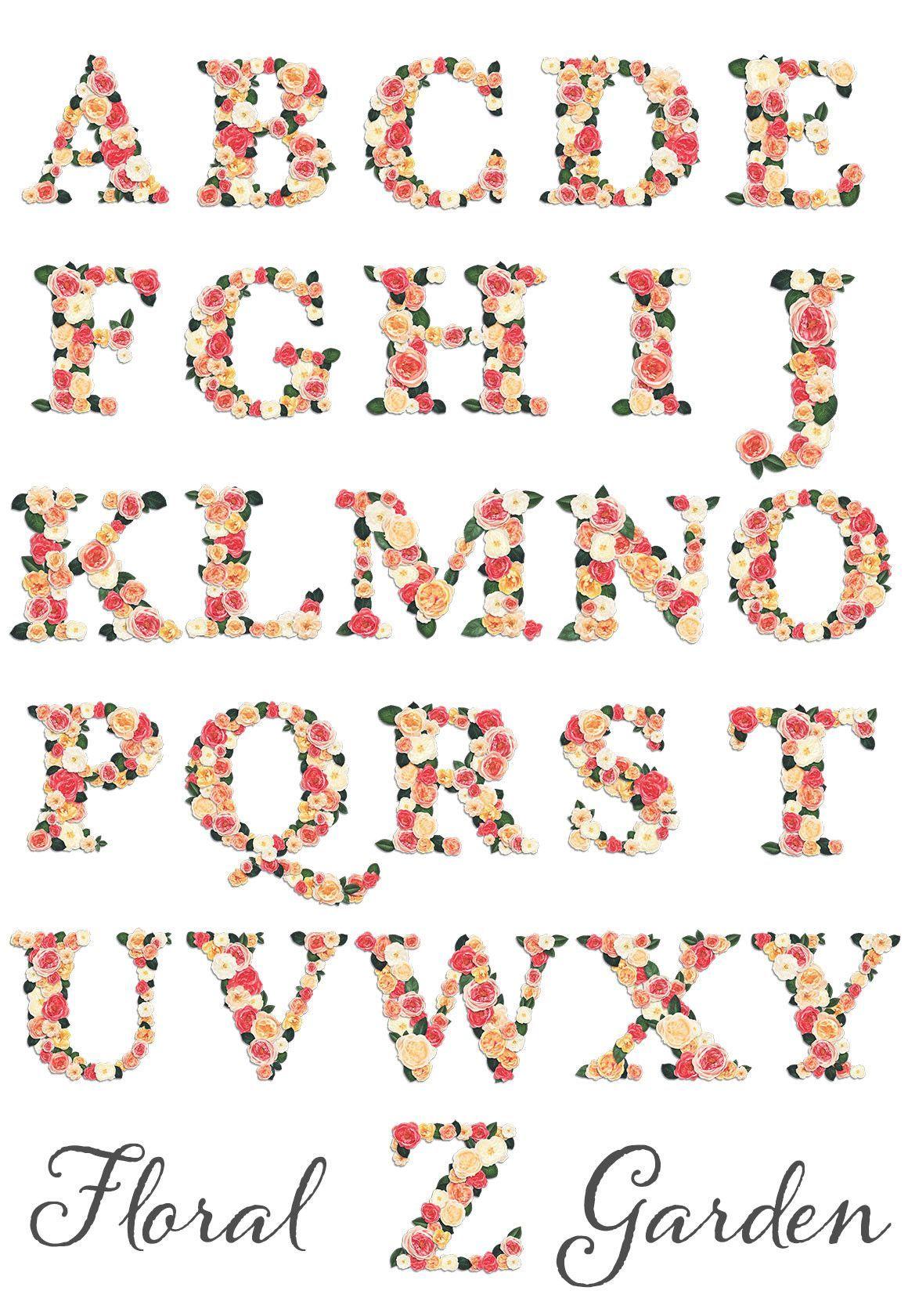Floral Garden Alphabet Letter Graphics Alphabet Coloring Pages