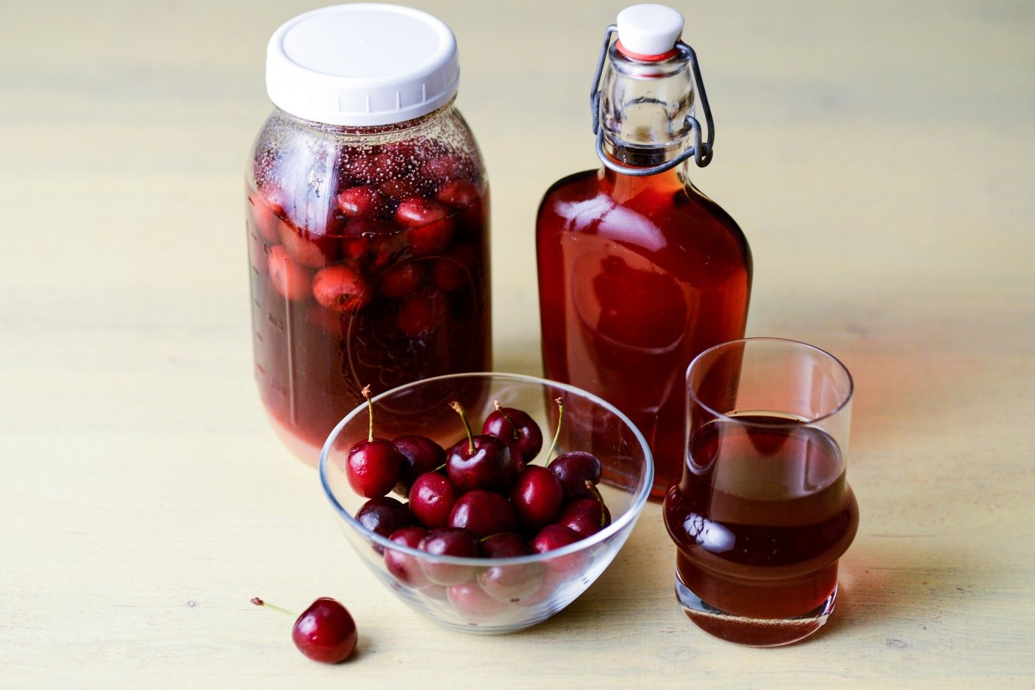 Pouring cherries. Cherry Liqueur Recipes 68