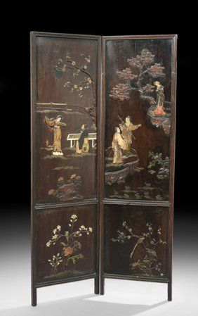 Pair Of Chinese Inlaid Wooden Panels
