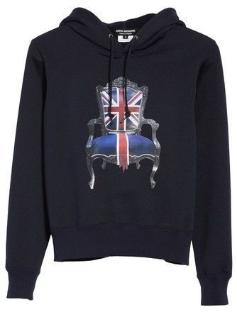 Cheap All Seasons Available British chair print hoody - Blue Junya Watanabe Discount Clearance Store 5VMBCH4McP