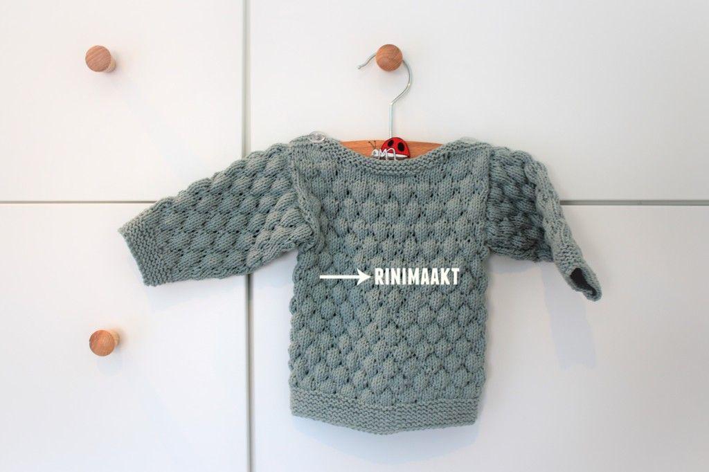 Baby trui in bubbelsteek breien maat 62. rinimaakt