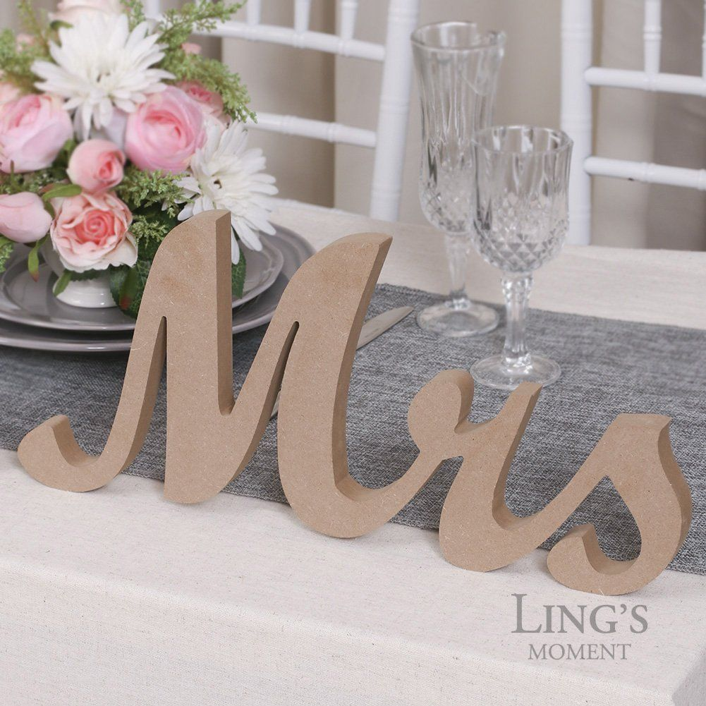 Wedding decorations home  Amazon Lingus moment LARGE VINTAGE Mr u Mrs Wooden Letters for