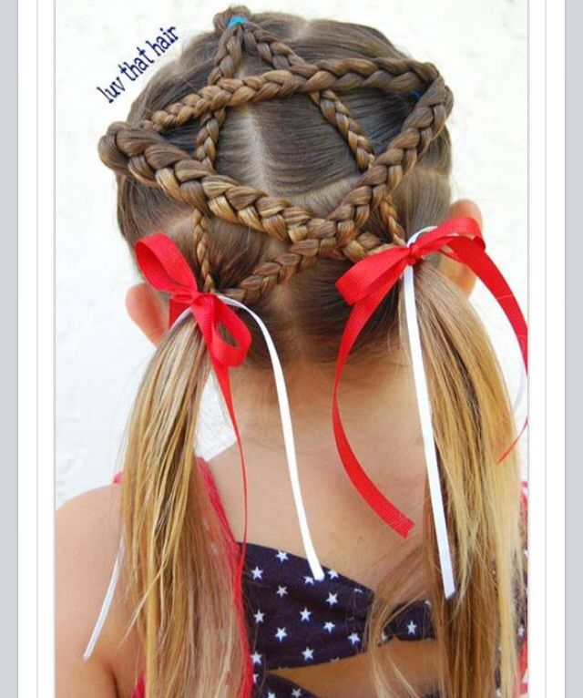 Braided star for 4th of July. Hairstyles for girls. Patriotic! - Braided Star For 4th Of July. Hairstyles For Girls. Patriotic
