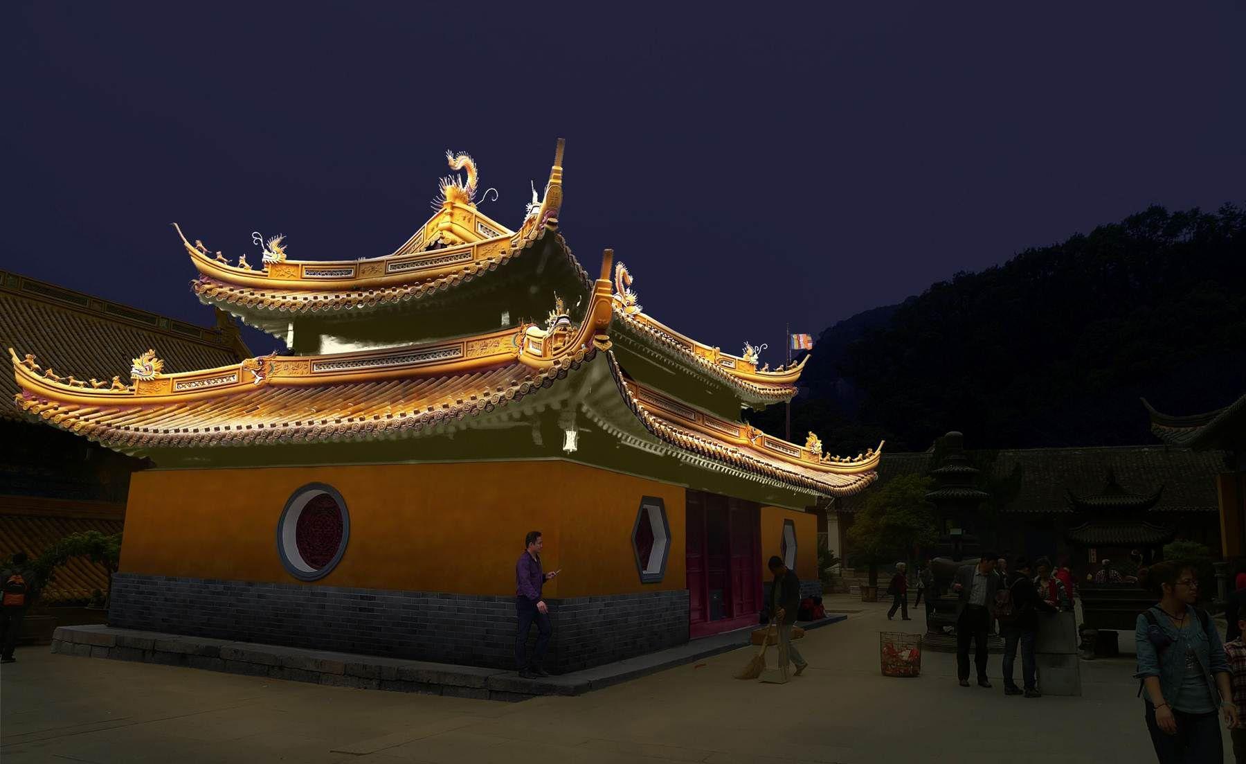 Rooftop lighting design Fayu Temple Putuoshan in ZhouShan Zhejiang China. & Rooftop lighting design Fayu Temple Putuoshan in ZhouShan ... azcodes.com