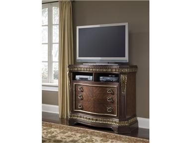 Shop for Pulaski Furniture Del Corto Media Chest, 503145, and other Home Entertainment Entertainment Centers at Siker Furniture in Janesville, WI. This enthralling entertainment center makes a must-have addition.  With a versatile build and attractive looks, this entertainment center provides makes a brilliant solution to providing optimal storage and display space.