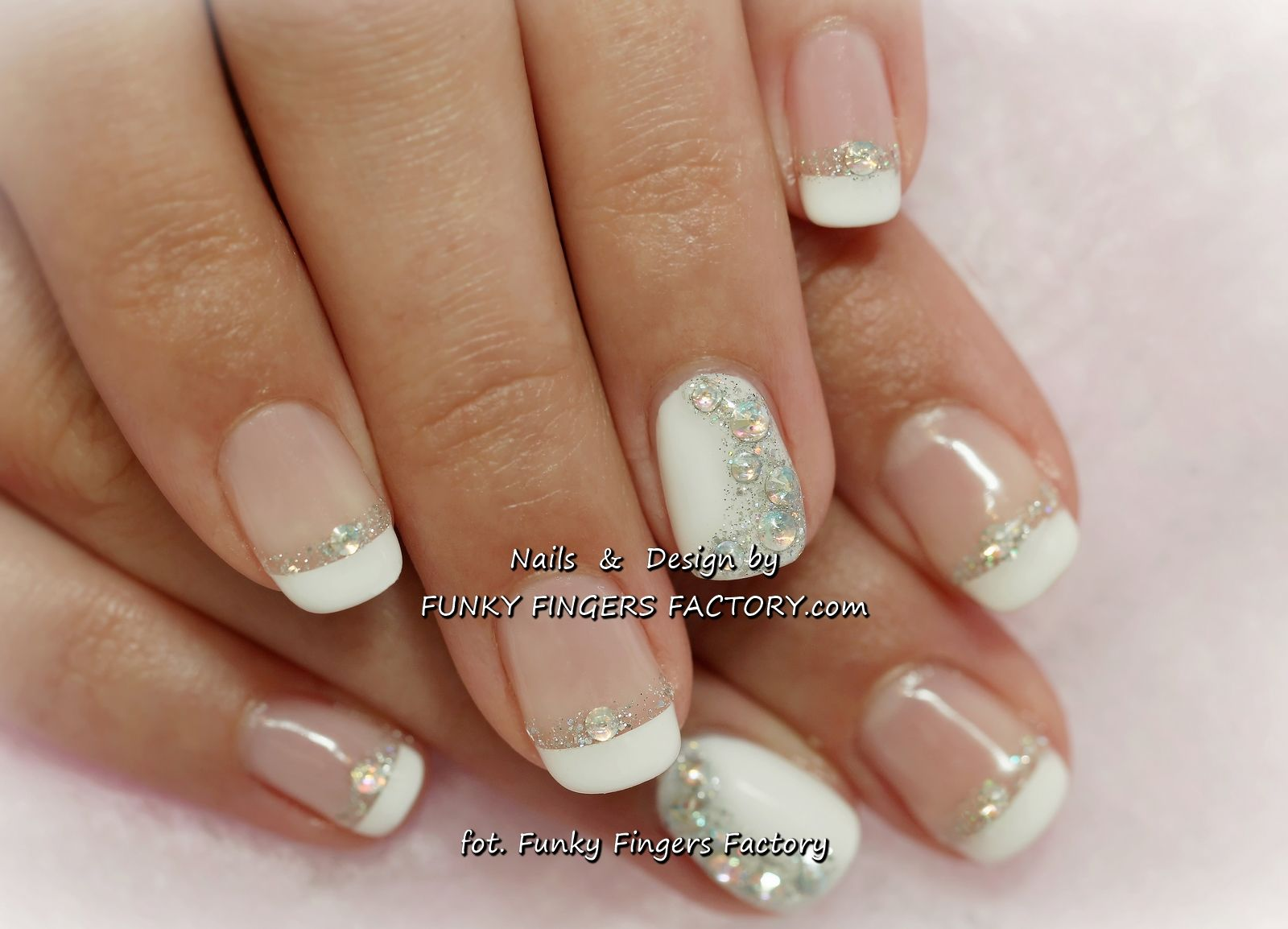 classy one finger gliter french   Gelish French manicure with Aurora ...