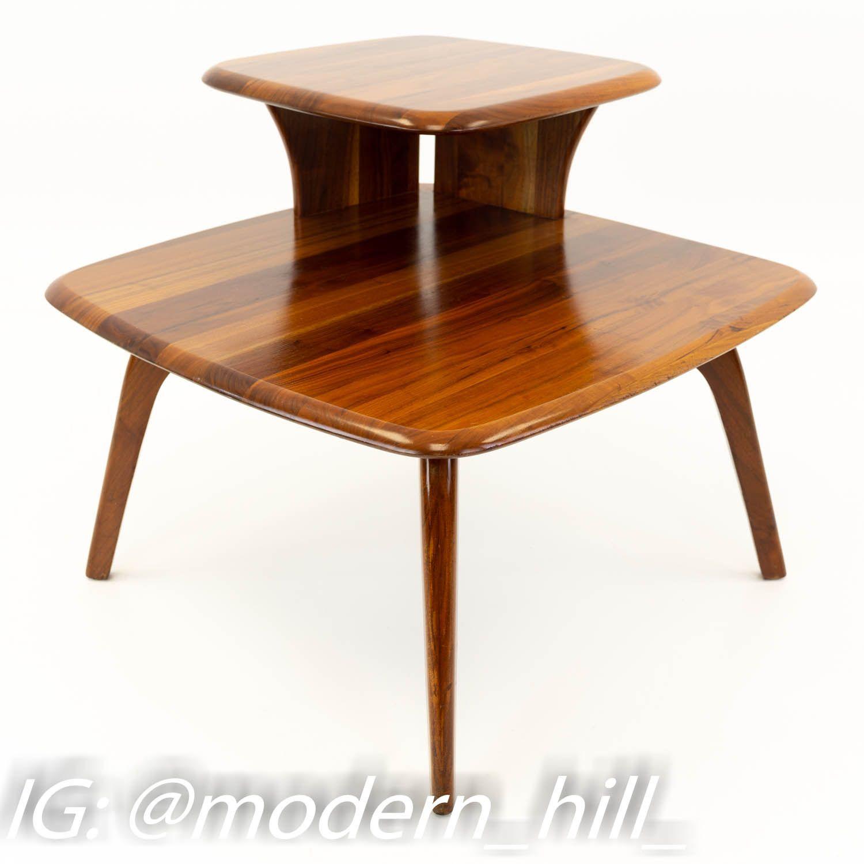 Walnut Mid Century Corner Side End Table | Corner table ...